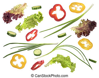 set, van, groentes, op, een, witte achtergrond