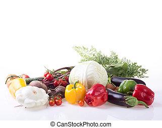 set, van, groentes