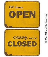 set, van, grunge, gele, signs:, open, -, gesloten, -, 24 uur