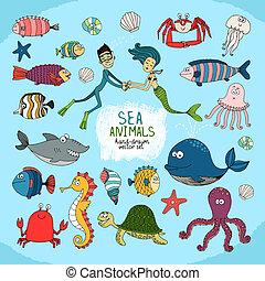 set, van, hand-drawn, spotprent, zee leven