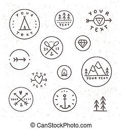 set, van, hand, getrokken, badges., buiten, kamperen, tribe.