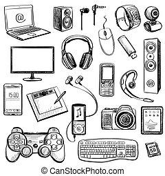 set, van, hand, getrokken, gadget, iconen