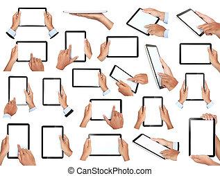 set, van, hand houdend, tablet