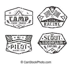 set, van, hardloop, en, kamperen, emblems