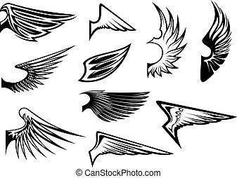 set, van, heraldisch, vleugels
