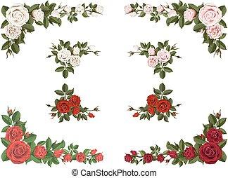 set, van, hoek, bouquetten, rozen, anders, kleur