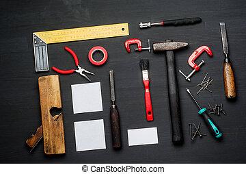 set, van hout top, timmerman, uitrusting, tafel,...