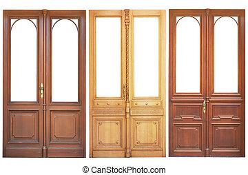 set, van, houten, deuren