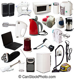 set, van, huisgezin, appliances., vrijstaand, op wit