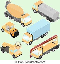 set, van, isometric, wegenbouw, machinery., vrachtwagens, straat, rol, wiel lader, reservoir, lift, machine., voorkant, en, back, overzicht.