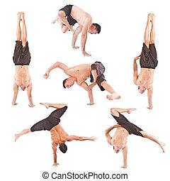 set, van, jonge man, acrobatiek, gymnastisch