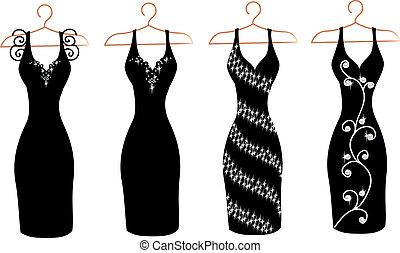 set, van, jurken, op, hangers