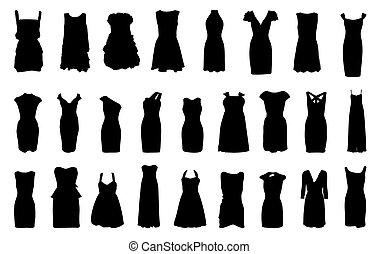 set, van, jurken, silhouette, vrijstaand, op wit,...