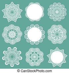 set, van, kant, servetten, -, voor, ontwerp, en, plakboek,...
