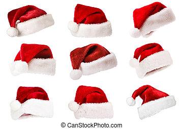 set, van, kerstman, hoedjes, vrijstaand, op wit