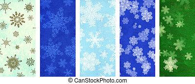 set, van, kerstmis, banieren, met, snowflakes