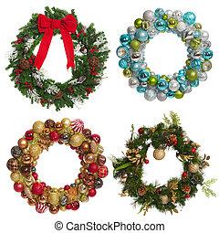set, van, kerstmis, garland.