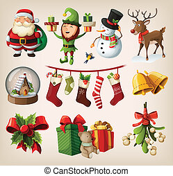 set, van, kerstmis, karakters