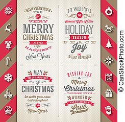 set, van, kerstmis, type, ontwerpen, en, plat, iconen, met,...
