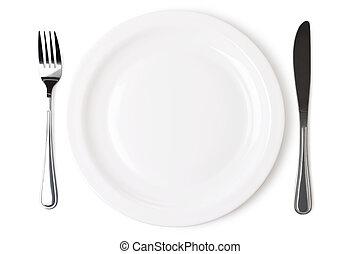 set, van, keuken, voorwerp, op, een, witte , achtergrond.,...
