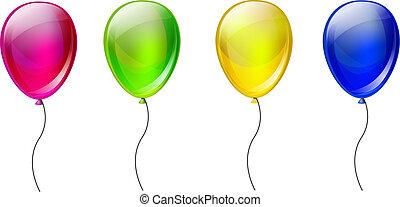 set, van, kleur, ballons