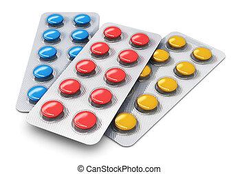 set, van, kleur, pillen, in, de pakken van de blaar