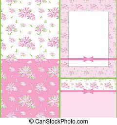 set, van, kleurrijke, bloem, seamless, model, kaart, ontwerp