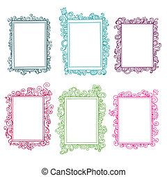 set, van, kleurrijke, floral, doodle, frame