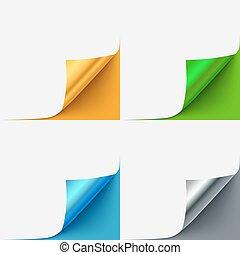 set, van, kleurrijke, gekrulde, vector, papier, hoeken