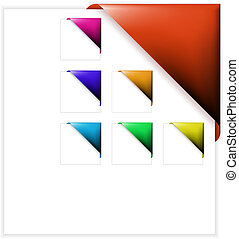 set, van, kleurrijke, hoek, linten