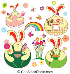 set, van, kleurrijke, konijn, en, lente, floral
