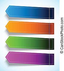 set, van, kleurrijke, label