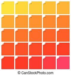 set, van, kleurrijke, plat, etiketten, met, gekrulde, hoeken