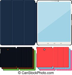 set, van, kleurrijke, plat, tablet pc, cases., black , leder, groene, rood, blauwe , pink.