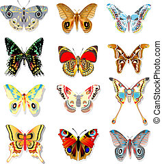 set, van, kleurrijke, vlinder, op, een, witte achtergrond