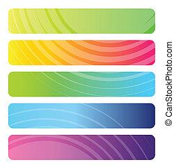 set, van, kleurrijke, web, banieren