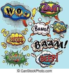 set, van, komisch, toespraak, bubbles., vector