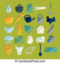 set, van, landbouw, iconen