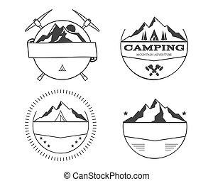 set, van, leeg, ouderwetse , zomer kamp, kentekens, en, buiten, logo, voorbeelden, emblems, en, labels.