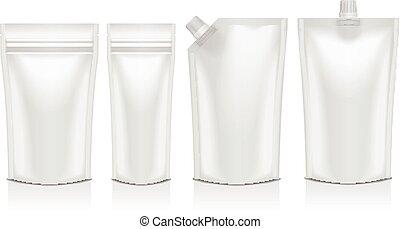set, van, leeg, plastic, doypack, opstaan, zak, met, spout., soepel, verpakking, spotten, op, voor, voedingsmiddelen, of, drank