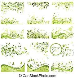 set, van, lente, achtergronden