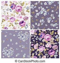 set, van, lentebloemen, achtergronden, -, seamless, floral, armoedig, chic, model, -, in, vector