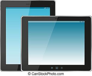 set, van, moderne, digitaal tablet, pc., vrijstaand, op wit