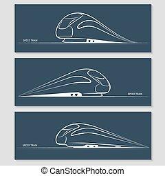 set, van, moderne, snelheid, trein, silhouettes