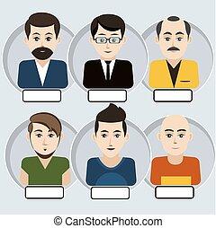 set, van, modieus, avatars, man, iconen