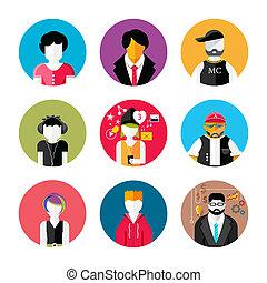set, van, modieus, avatars, van, man en vrouw, iconen