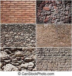 set, van, muur, banieren