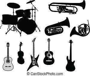 set, van, muziekinstrumente