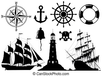 set, van, nautisch, iconen