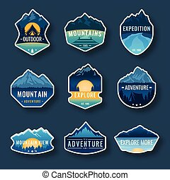 set, van, negen, berg, reizen, emblems., kamperen, buitene avontuur, emblems, kentekens, en, logo, patches., berg, toerisme, hiking., bos, kamp, etiketten, in, ouderwetse , stijl